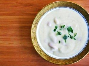 Kumpio, bulvių ir porų sriuba