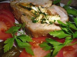 Kiaulienos nugarinės kepsnys su Camembertu