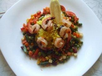 Aštrios krevetės su ryžiais ir daržovėmis