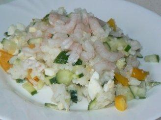 Krevečių mišrainė su ryžiais