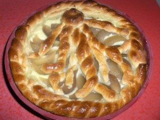 Mielinis pyragas su varške ir koncervuotom kriaušem