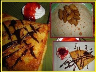Lietiniai blynai desertui su karamelizuotais obuoliais ir cinamonu
