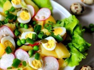 Bulvių salotos su putpelių kiaušiniais