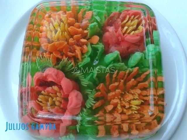 3D  gėlės želė