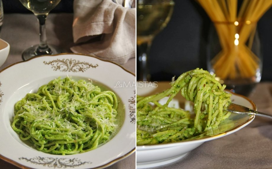 Spaghetti su špinatų padažu