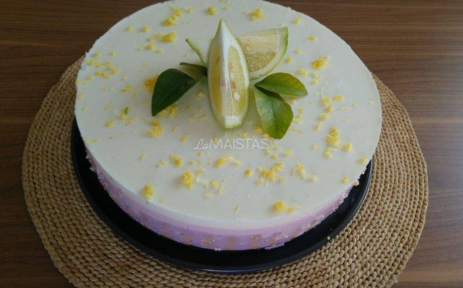 Spalvingas nekeptas varškės tortas