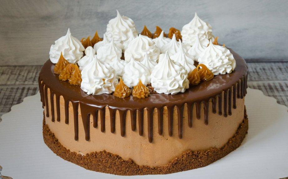 Nekeptas karamelinis maskarponės sūrio tortas