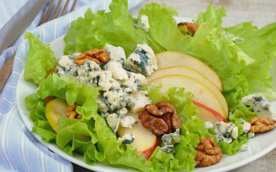 Greitos kriau�ių salotos su pelėsiniu sūriu