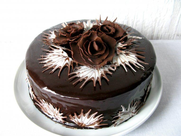 """Šokoladinis kavos tortas """"Juodoji rožė'"""""""