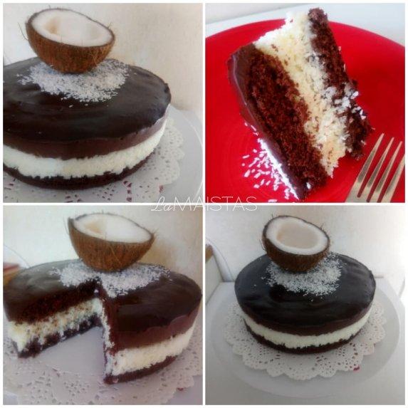 Šokoladinis tortas su kokosų įdaru