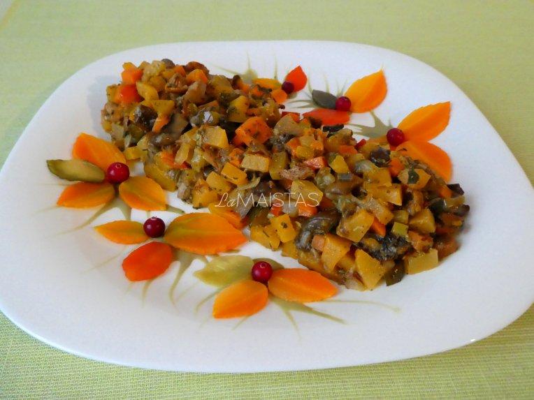 Daržovių ir grybų salotos - tinka Kūčioms