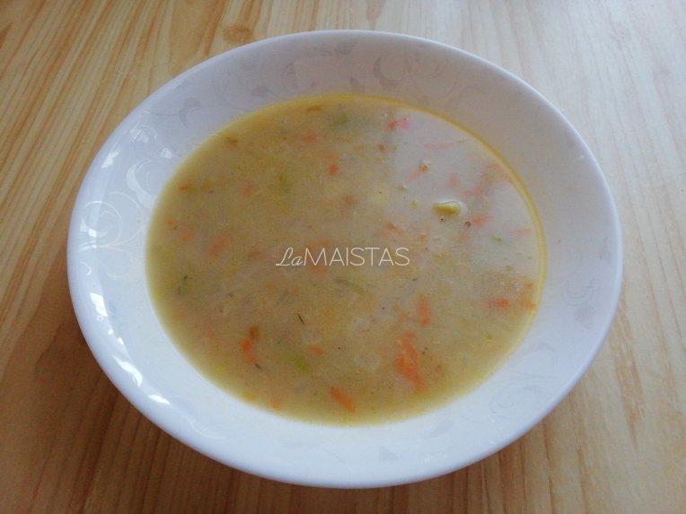 Pieniška šviežių kopūstų sriuba su grikių dribsniais
