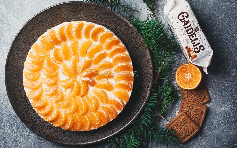 Nekeptas jogurtinis maskarponės tortas su mandarinais