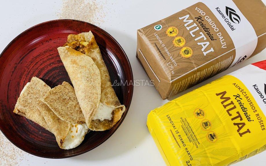 Naminė tortilija su trijų rūšių sūriu ir džiovintų pomidorų pesto padažu