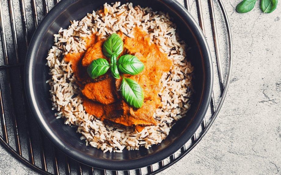 Keptos daržovės su jautiena ir ryžiais