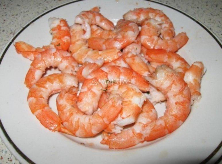 Svorio netekimas krevetės maišyti kepti