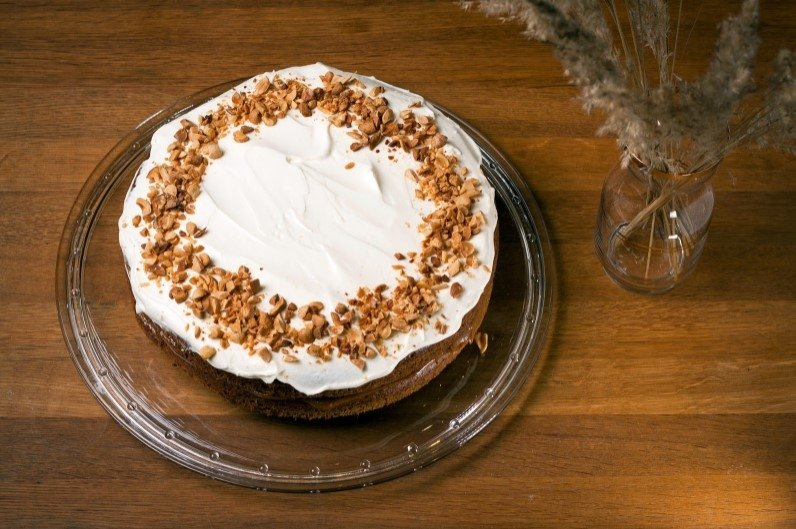 Moliūgų pyragas su karamele rududu