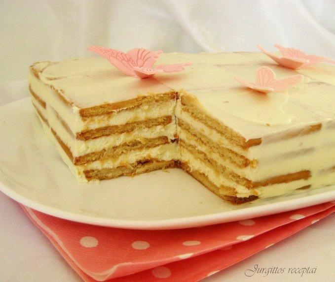 Fantastiško skonio nekeptas citrininis sausainių tortas