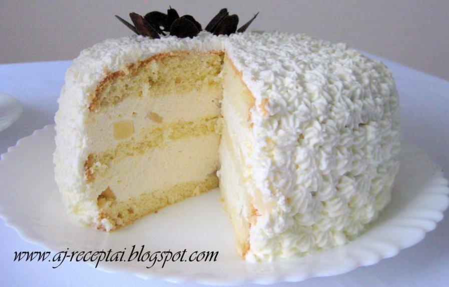 Lengvas ir gaivus jogurtinio kremo tortas su vaisiais