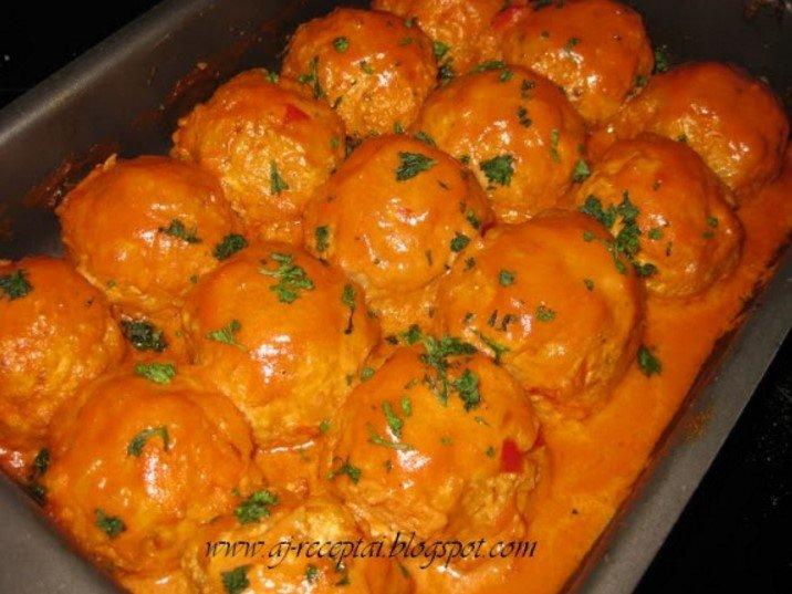 Maltos mėsos tefteliai kukuliai pomidoriniame padaže