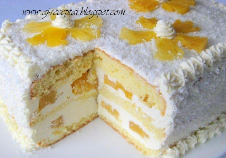 Ananasinis tortas su plikyto sviestinio kremo pertepimu