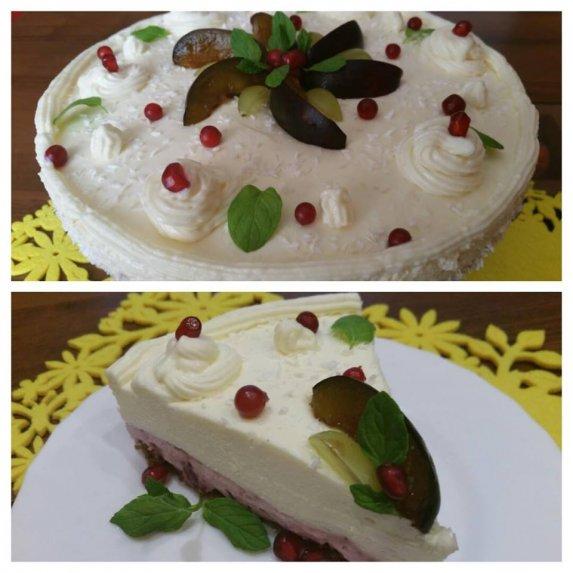 Nekeptas maskarponės tortas su vyšniomis