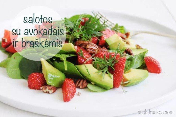 Gaivios salotos su avokadu, špinatais ir braškėmis