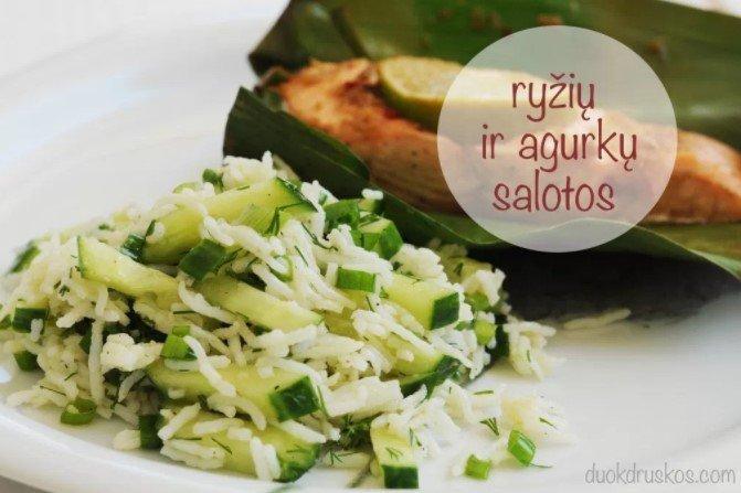 Ryžių ir agurkų salotos gaiviam garnyrui