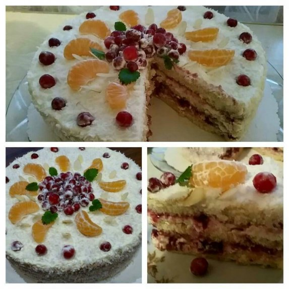 Nekeptas tortas su varške ir uogiene