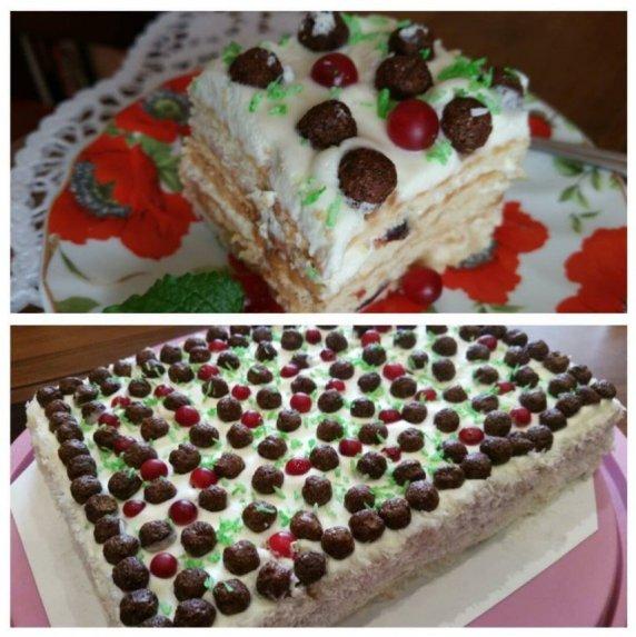 Nekeptas sausainių tortas su kondensuotu pienu