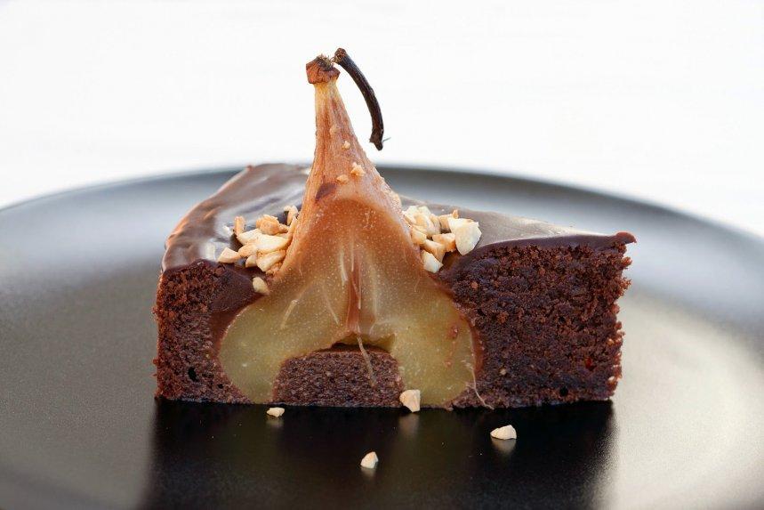 Šokoladinis kriaušių pyragas rojus