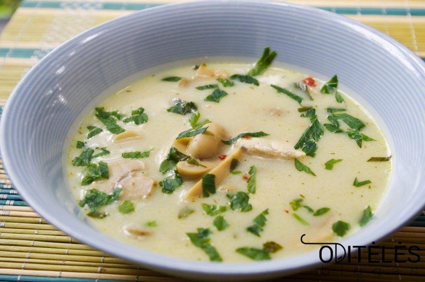 Vištienos sriuba su kokosų pienu