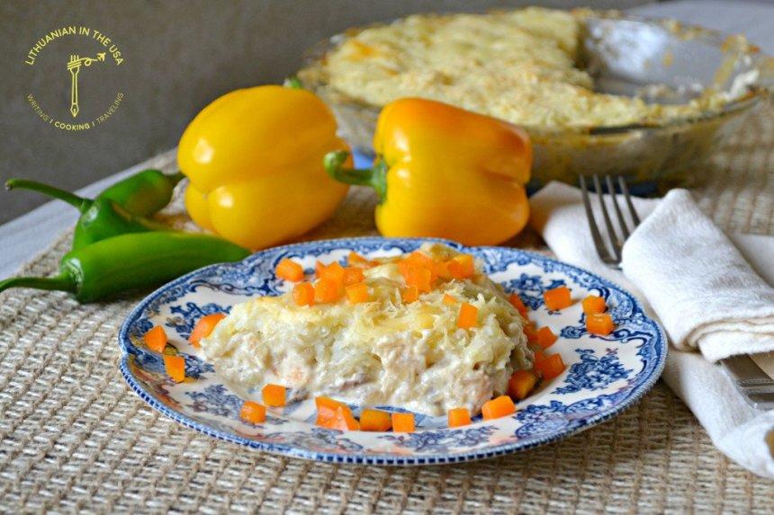 Sotus vištienos apkepas su bulvėmis ir grybais