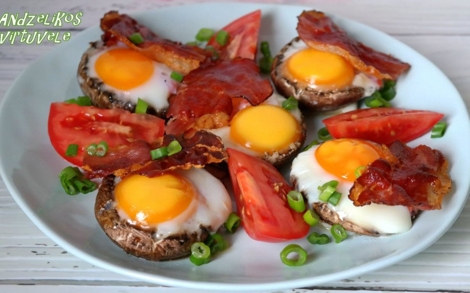 Pievagrybiuose kepti kiaušiniai
