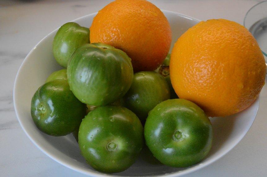 Žalių pomidorų džemas su apelsinais