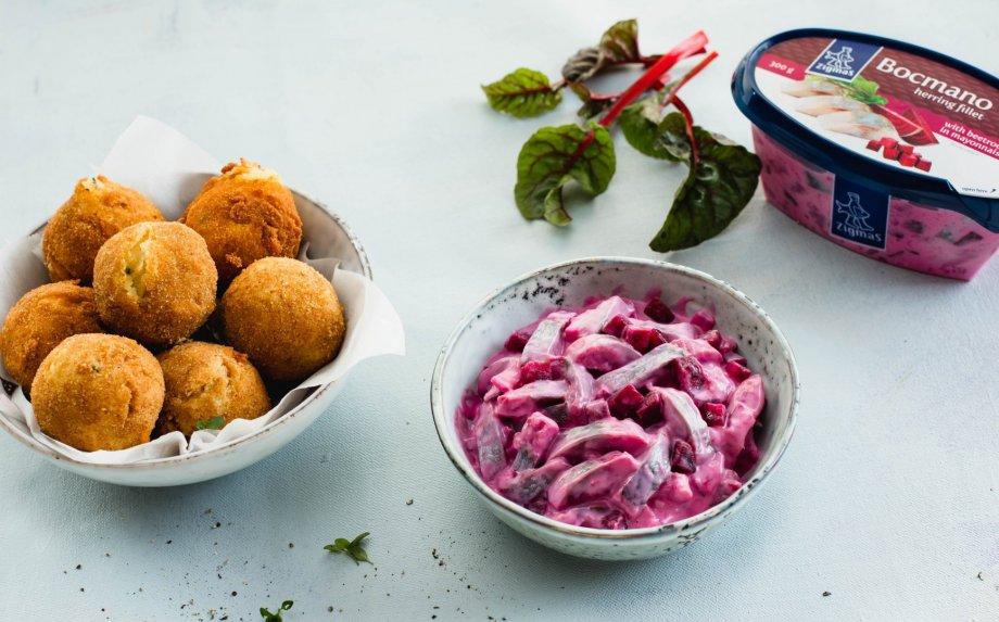 Bulvių ir obuolių maltinukai su ZIGMO silke ir burokėliais