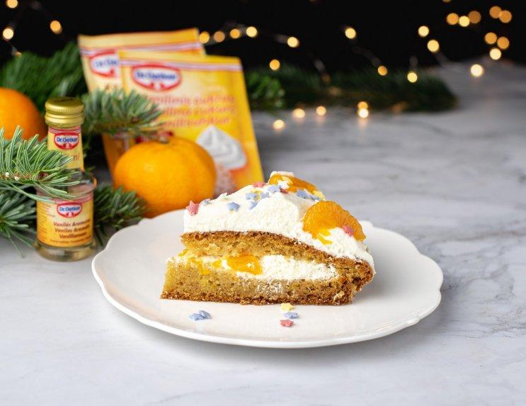 Japoniškas Kalėdų tortas su mandarinais