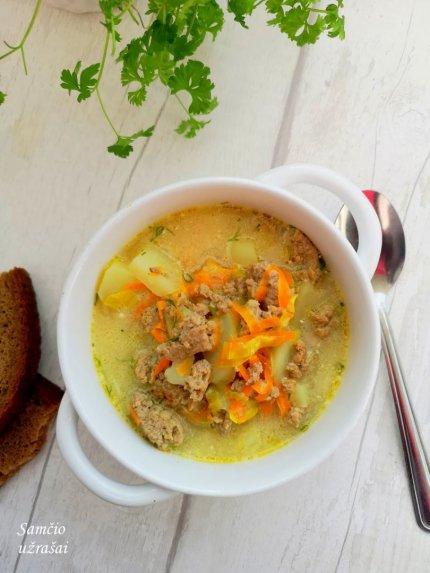 Soti maltos mėsos sriuba su grietine