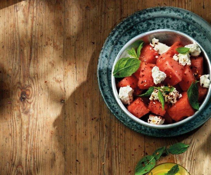 Arbūzų salotos su feta ir mėtomis