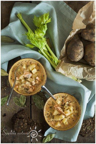 Lašišos ir bulvių sriuba