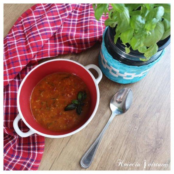 Šviežių pomidorų ir cukinijų sriuba su ryžiais
