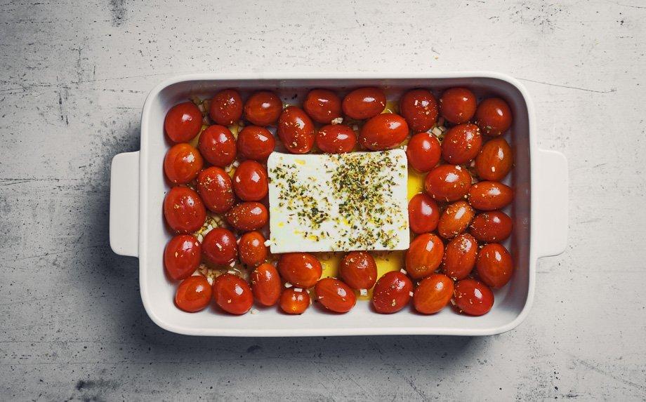 Tik tok makaronai su feta ir pomidorais