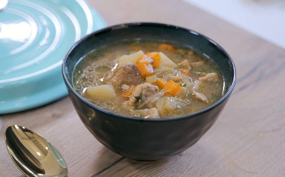 Perlinių kruopų sriuba su baravykais